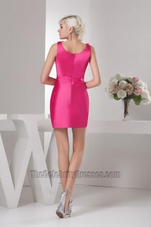 Short Mini Sleeveless Fuchsia Party Homecoming Dresses
