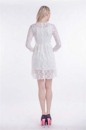 Short/Mini White Lace High Low Party Homecoming Dress TCDBF002