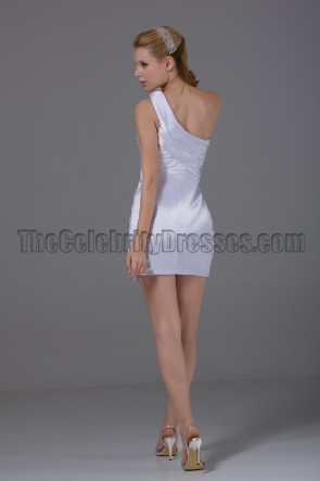 Short White One Shoulder Mini Party Cocktail Dresses