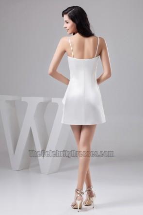 Short White Spaghetti Straps Party Homecoming Dresses