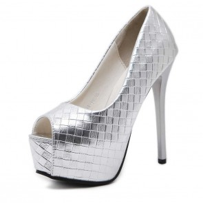 Silver Pump Peep Toe Prom Shoes With Stiletto Heels For Less