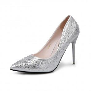 Silver Rhinestones Pointed Toe Stiletto Heels Wedding Shoes For Bride
