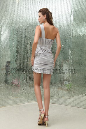 Chic Silver Mini One Shoulder Party Homecoming Dresses
