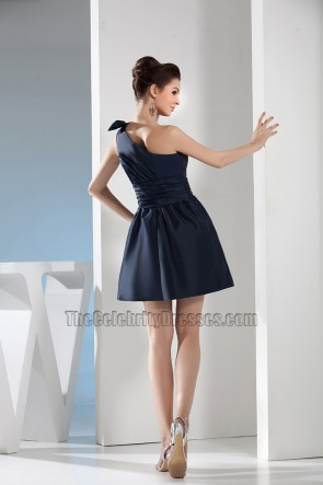 Short Dark Navy One Shoulder Party Homecoming Dresses