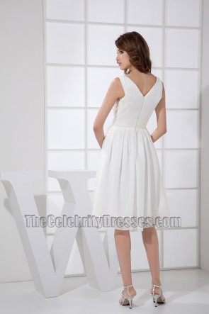White V-neck A-Line Cocktail Dress Bridesmaid Dresses
