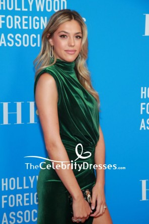 Sistine Stallone Dark Green Slit Evening Dress 2019 HFPA Grants Banquet TCD8616
