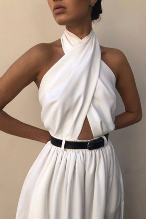 Sleeveless Halter Backless Jumpsuit