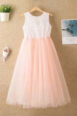Sleeveless Lace Tulle Flower Girl Dress