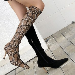Snakeskin Patchwork Stiletto Heels The Knee High Boots
