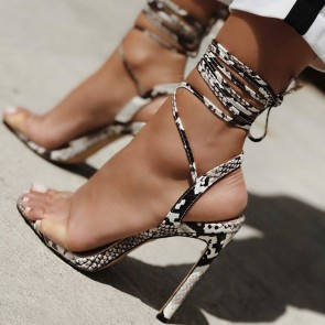 Snakeskin Print Open-toe Stiletto Heels Sandals With Lace-up