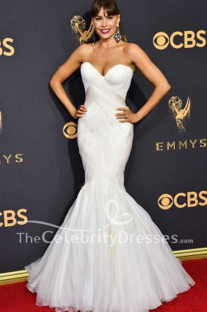 Sofía Vergara White Strapless Tulle Mermaid Evening Gown Dress 2017 Emmy Awards Red Carpet