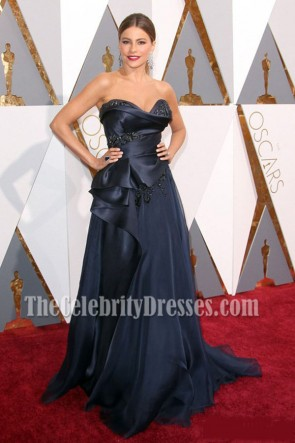 Sofia Vergara Dark Navy Strapless Beadings Evening Prom Gown 88th Annual Academy Awards 1