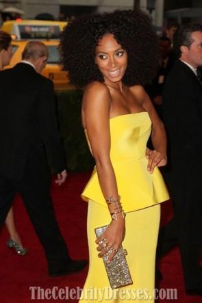 Robe de soirée jaune Solange Knowles Tapis rouge MET Ball 2012