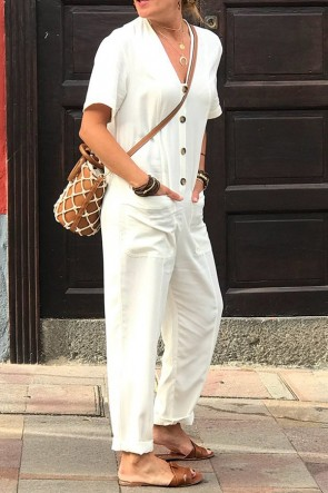 White Pocket Buttoned Jumpsuit