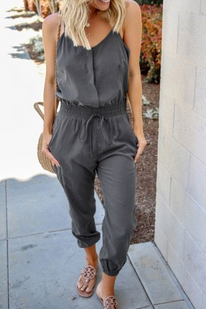 Solid Pockets Cami Jumpsuit