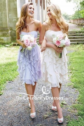 Ivory Strapless Ruffled Empire Short Bridesmaid Dress Sweet 16 Dress