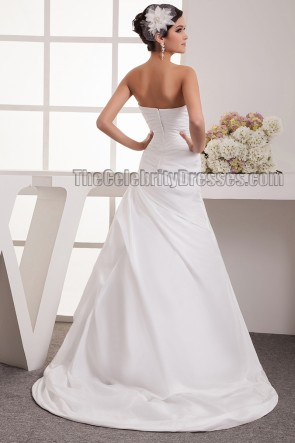 Strapless A-Line Taffeta Wedding Dresses With Embroidery