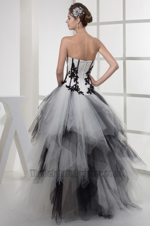 Strapless Black And White Formal Dress Pageant Gowns