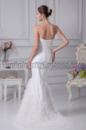 Classic Strapless Trumpet / Mermaid Tulle Wedding Dresses