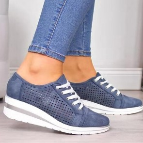 Suede Hollow Wedges Sneakers With Lace-up