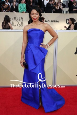 Susan Kelechi Watson Royal Blue Strapless Ruffled Evening Dress 2018 SAG Awards Red Carpet