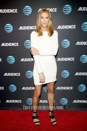 Kelly Lynch White Long Sleeves Mini Dress AT&T AUDIENCE Network Summer 2017 TCA Panel