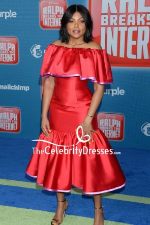 Taraji P. Henson Red Off-the-shoulder Cocktail Dress Premiere Of Ralph Breaks the Internet