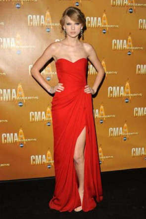 Taylor Swift Hot Red Prom Dress Evening Bridesmaid Gown 44th CMA Award