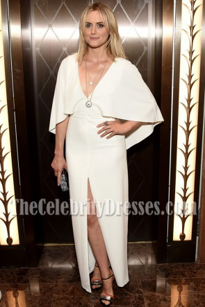 Taylor Schilling Ivory Cape High-slit Evening Prom Gown Cartier Fifth Avenue Grand Reopening Event   1