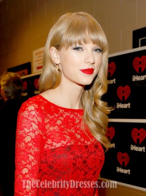 Taylor Swift Robe de soirée en dentelle rouge IHeartRadio Music Festival 2012 16 Robes