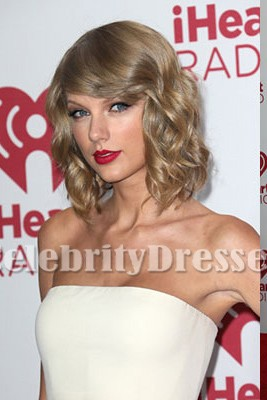 Taylor Swift White And Red Party Dress iHeart Radio Music Festival