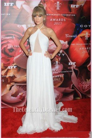 Taylor Swift White Evening Prom Dress 2013 Fragrance Foundation Awards