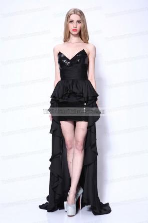 Robe de bal Beyonce noire sans bretelles à paillettes haute basse Obsessed Premiere