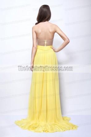 Vanessa Hudgens Robe bustier jaune Journey 2 Premiere