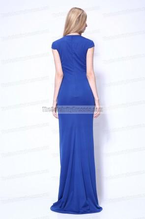 Kim Kardashian - robe de bal bleue royale - fête annuelle pré-Grammy de Clive Davis
