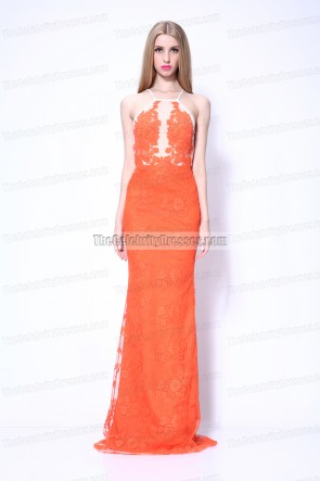 Giuliana Rancic Orange Lace Formal Dress 2014 Grammy Red Carpet Evening Dress