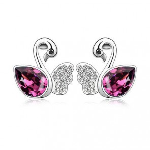 Women Swarovski Element Stud Earrings Swan Lack TCDE0203