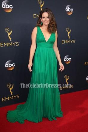 Tina Fey Green Chiffon Ruffle Deep V Evening Dress 2016 Emmy Awards 4
