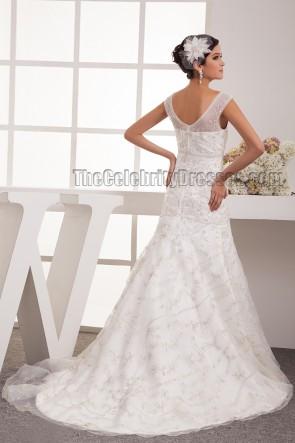 Trumpet /Mermaid Beaded Embroidered Sweep Brush Train Wedding Dress