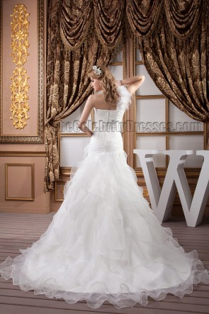 Trumpet/Mermaid One Shoulder Organza Wedding Dresses