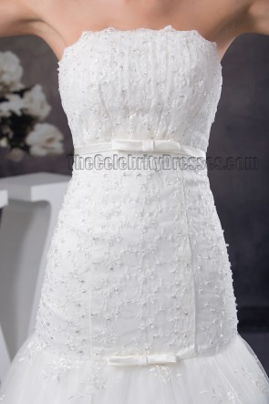 Trumpet /Mermaid Strapless Beaded Chapel Train Wedding Dress