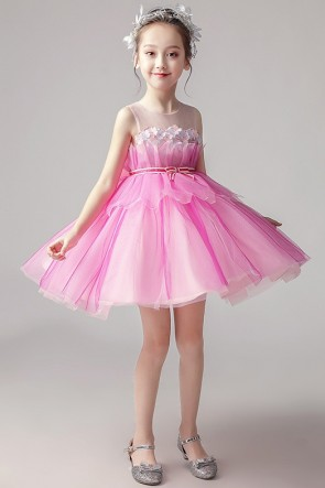Tulle Ball-Gown Flower Girl Dress featuring with bows.