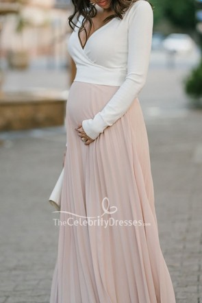 Two-tone Pleated Deep V-neck Long Sleeves Maxi Maternity Dress