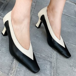 Two-tone Pumps Heel Shoes For Women