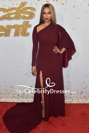 Tyra Banks Caped Long Sleeves High Slit Evening Dress America's Got Talent' season 13 live show