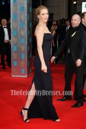 Uma Thurman - Robe de bal de soirée noire sans bretelles 2014 BAFTA Awards