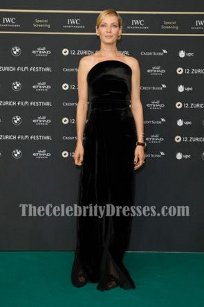 Uma Thurman Black Strapless Velvet Evening Prom Gown 2016 Zurich Film Festival
