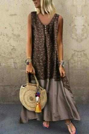 Vintage Boho V-neck Maxi Dress