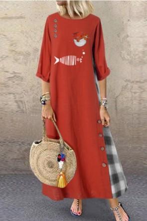 Vintage Loose Plus Size Print Stitching Dress