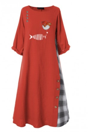 Robe de couture vintage ample grande taille avec manches 3/4.